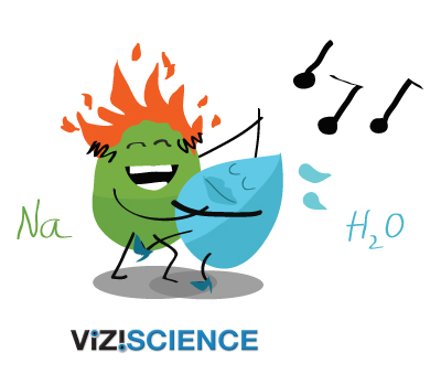 sodium catches fire and explodes in water chemistry cartoon