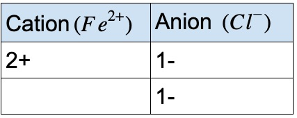 FeCl2 ionic compound charges
