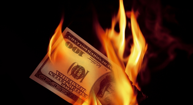 Burning dollar note lab