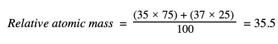 Relative atomic mass of chlorine